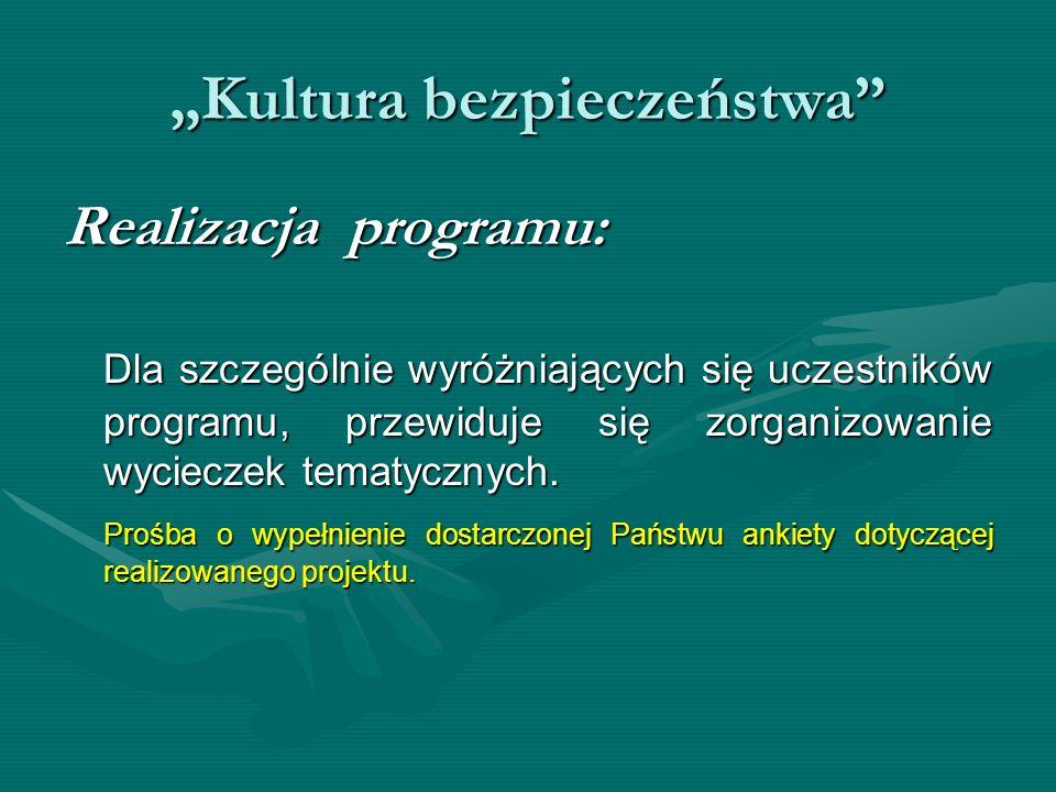 Kultura bezpieczeństwa Realizacja programu: Dla szczególnie wyróżniających się uczestników programu, przewiduje się zorganizowanie wycieczek tematyczn