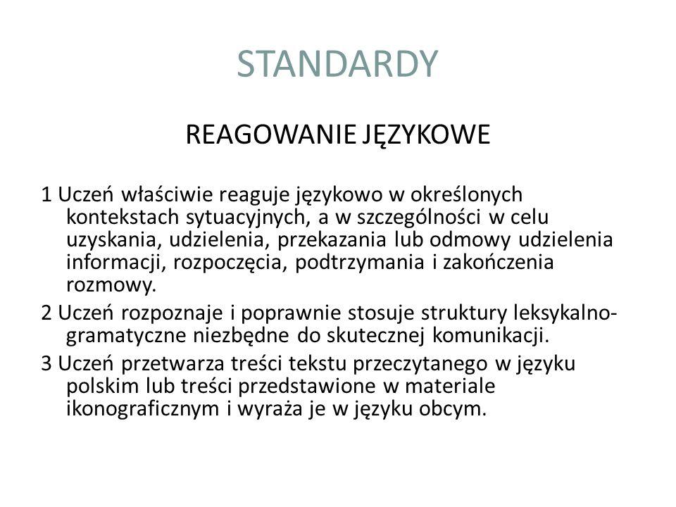 STANDARDY REAGOWANIE JĘZYKOWE 1 Uczeń właściwie reaguje językowo w określonych kontekstach sytuacyjnych, a w szczególności w celu uzyskania, udzieleni