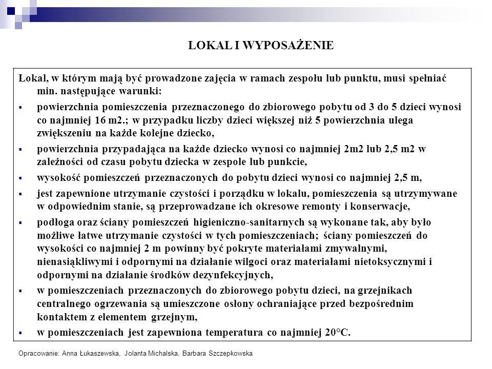 LOKAL I WYPOSAŻENIE Lokal, w którym mają być prowadzone zajęcia w ramach zespołu lub punktu, musi spełniać min. następujące warunki: powierzchnia pomi
