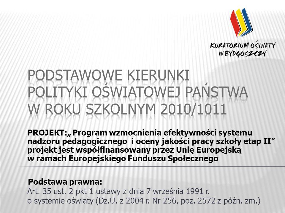 PROJEKT: Program wzmocnienia efektywności systemu nadzoru pedagogicznego i oceny jakości pracy szkoły etap II projekt jest współfinansowany przez Unię Europejską w ramach Europejskiego Funduszu Społecznego Podstawa prawna: Art.