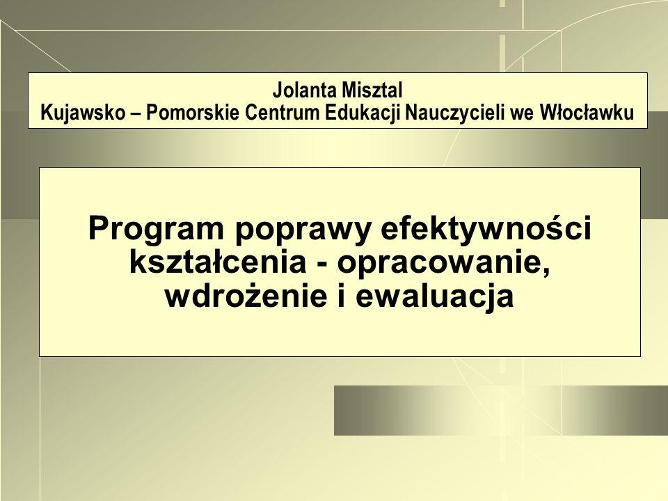 Jolanta Misztal Kujawsko – Pomorskie Centrum Edukacji Nauczycieli we Włocławku Program poprawy efektywności kształcenia - opracowanie, wdrożenie i ewa