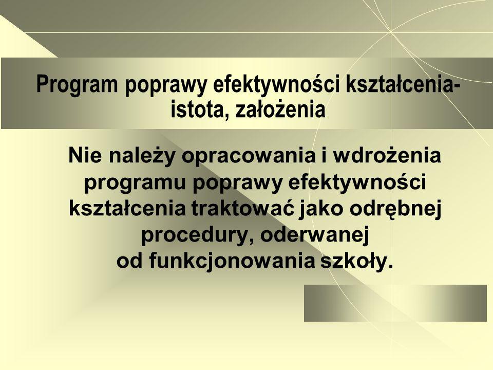 Program poprawy efektywności kształcenia- istota, założenia Nie należy opracowania i wdrożenia programu poprawy efektywności kształcenia traktować jak