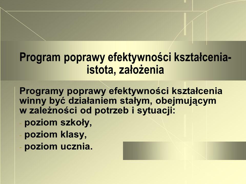 Program poprawy efektywności kształcenia- istota, założenia Programy poprawy efektywności kształcenia winny być działaniem stałym, obejmującym w zależ