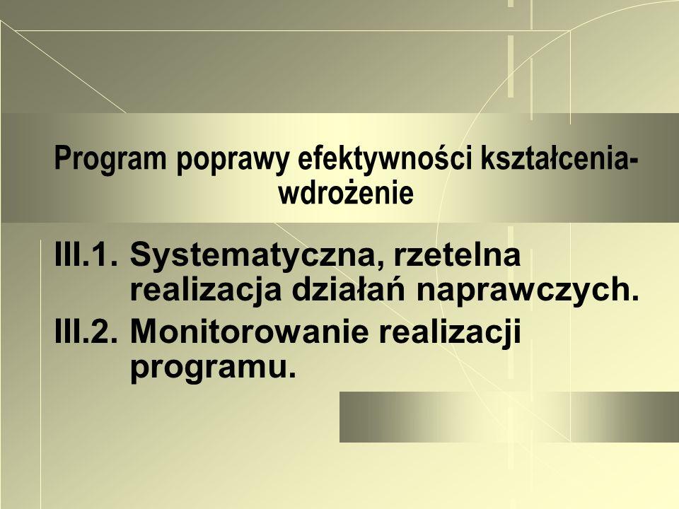Program poprawy efektywności kształcenia- wdrożenie III.1. Systematyczna, rzetelna realizacja działań naprawczych. III.2. Monitorowanie realizacji pro