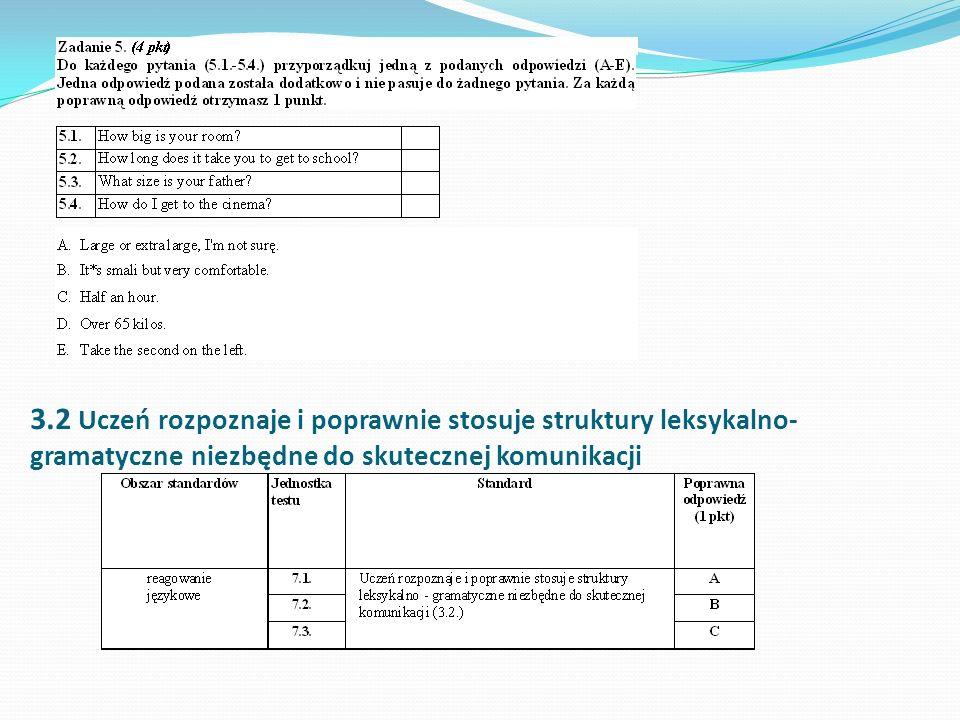 3.2 Uczeń rozpoznaje i poprawnie stosuje struktury leksykalno- gramatyczne niezbędne do skutecznej komunikacji