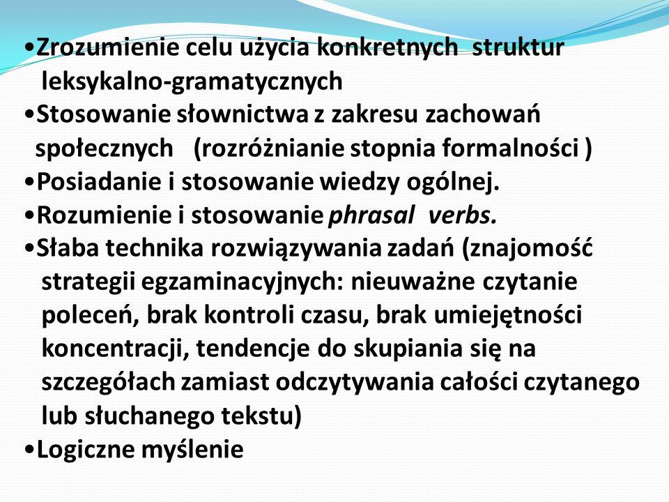 Zrozumienie celu użycia konkretnych struktur leksykalno-gramatycznych Stosowanie słownictwa z zakresu zachowań społecznych (rozróżnianie stopnia forma