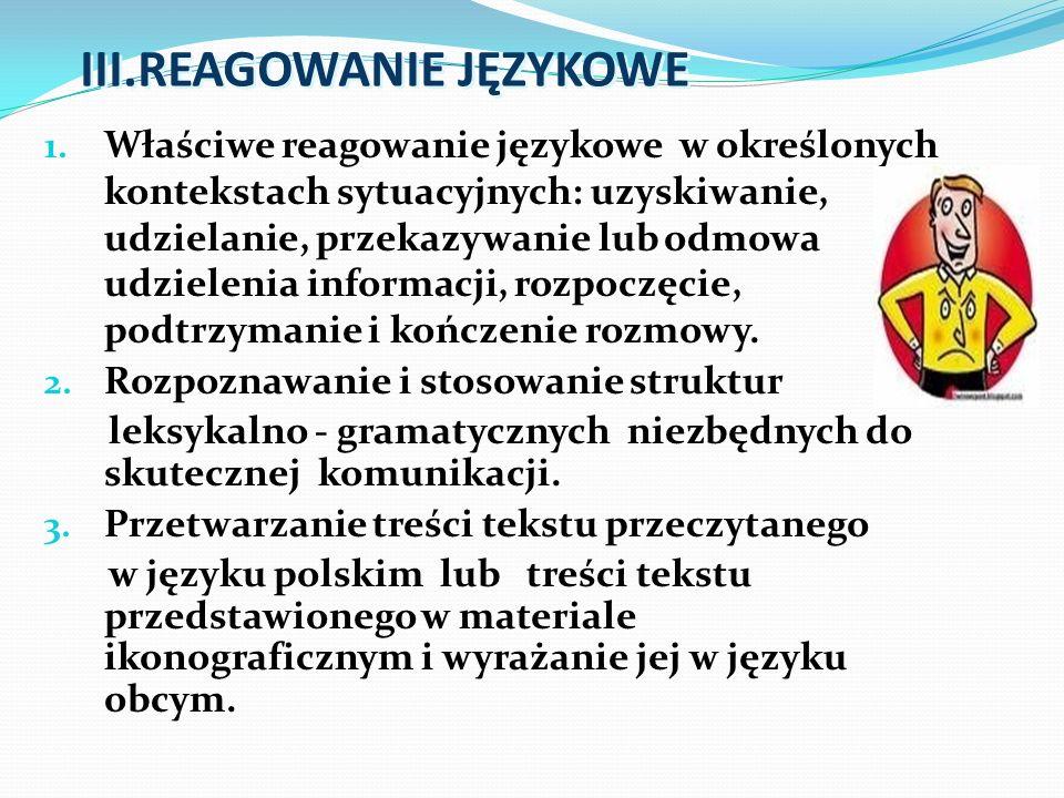 III.REAGOWANIE JĘZYKOWE 1. Właściwe reagowanie językowe w określonych kontekstach sytuacyjnych: uzyskiwanie, udzielanie, przekazywanie lub odmowa udzi