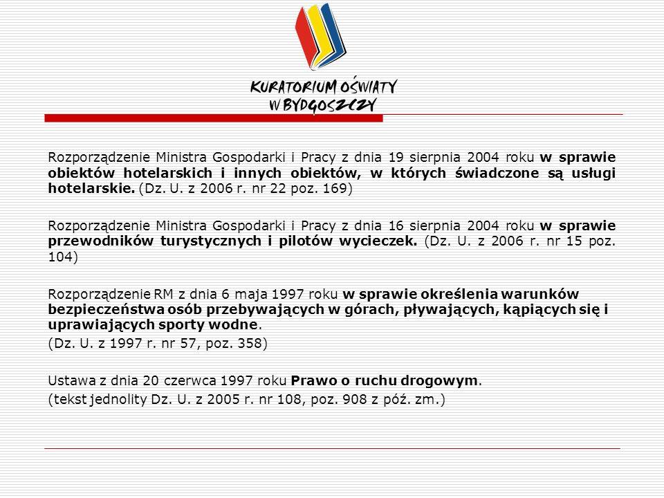 Rozporządzenie Ministra Gospodarki i Pracy z dnia 19 sierpnia 2004 roku w sprawie obiektów hotelarskich i innych obiektów, w których świadczone są usługi hotelarskie.