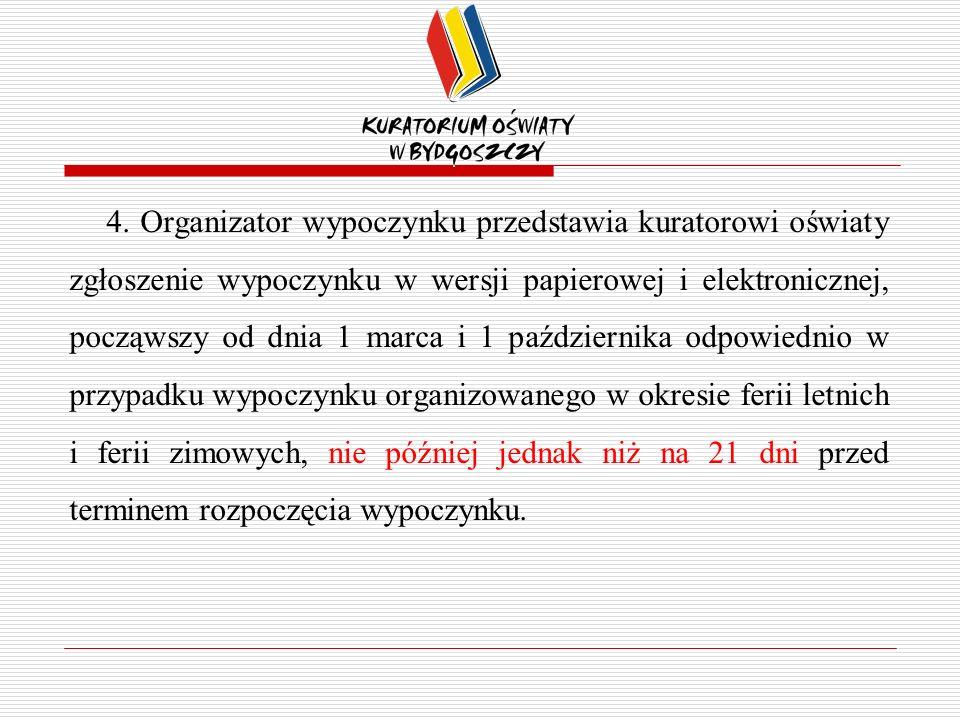 4. Organizator wypoczynku przedstawia kuratorowi oświaty zgłoszenie wypoczynku w wersji papierowej i elektronicznej, począwszy od dnia 1 marca i 1 paź