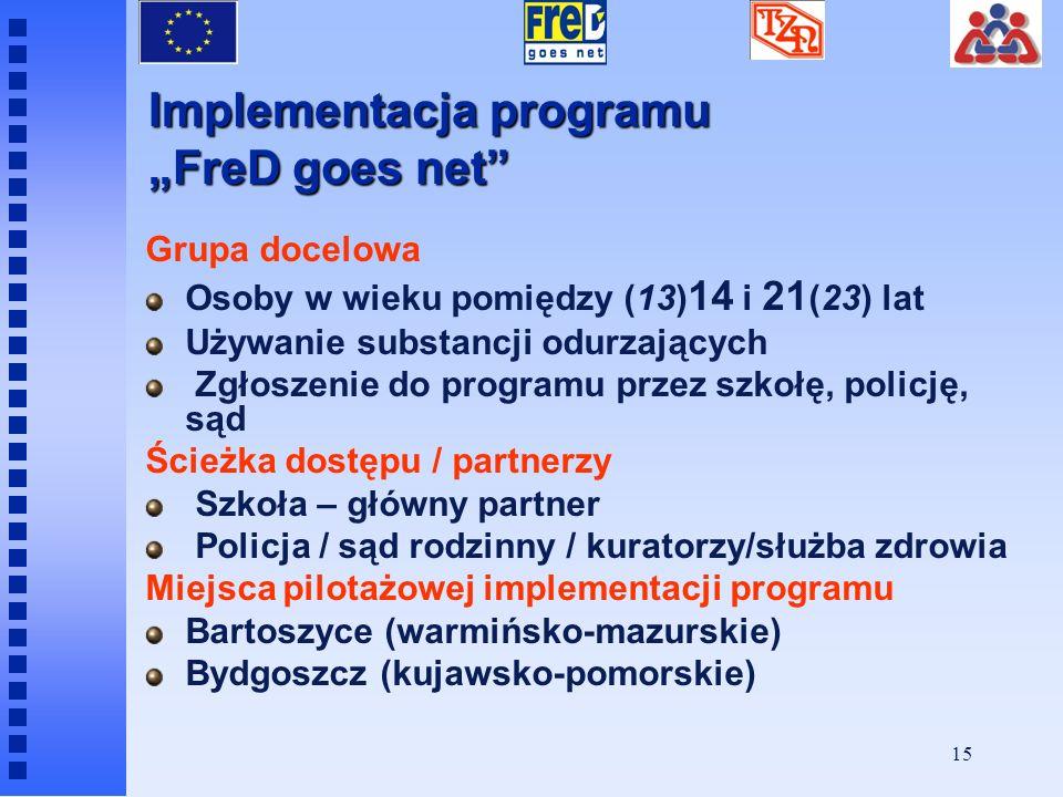 14 Cele programu FreD Zachęcenie użytkownika narkotyków do zastanowienia nad kwestią używania substancji Skonfrontowanie osoby używającej narkotyków z