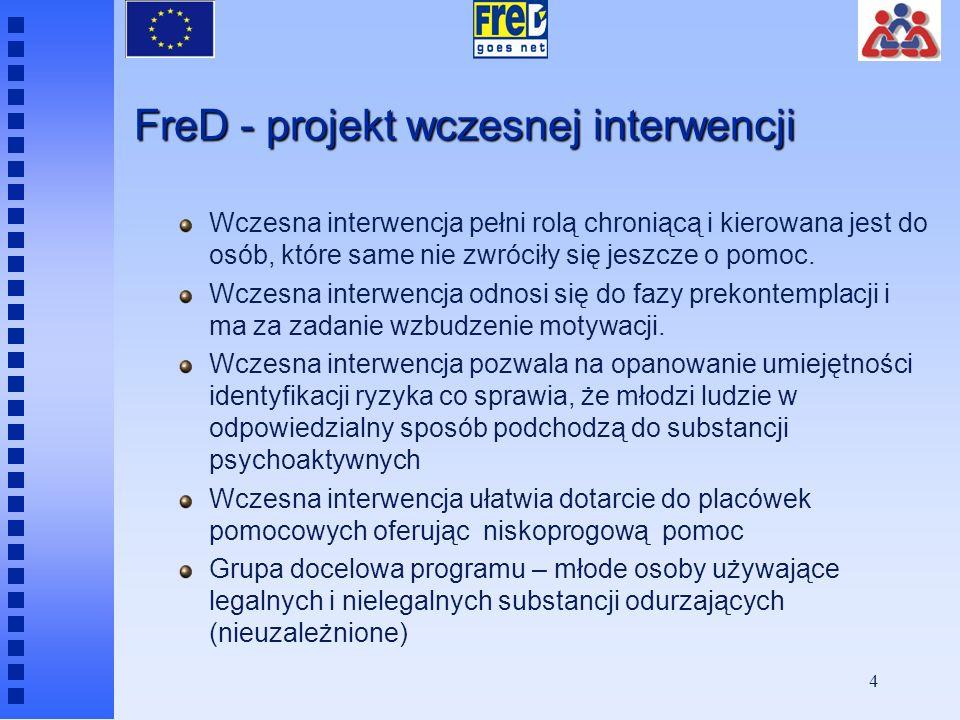 4 FreD - projekt wczesnej interwencji Wczesna interwencja pełni rolą chroniącą i kierowana jest do osób, które same nie zwróciły się jeszcze o pomoc.
