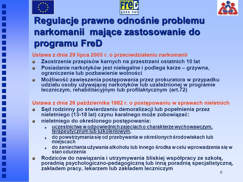 6 Regulacje prawne odnośnie problemu narkomanii mające zastosowanie do programu FreD Ustawa z dnia 29 lipca 2005 r.