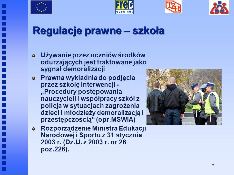 6 Regulacje prawne odnośnie problemu narkomanii mające zastosowanie do programu FreD Ustawa z dnia 29 lipca 2005 r. o przeciwdziałaniu narkomanii Zaos