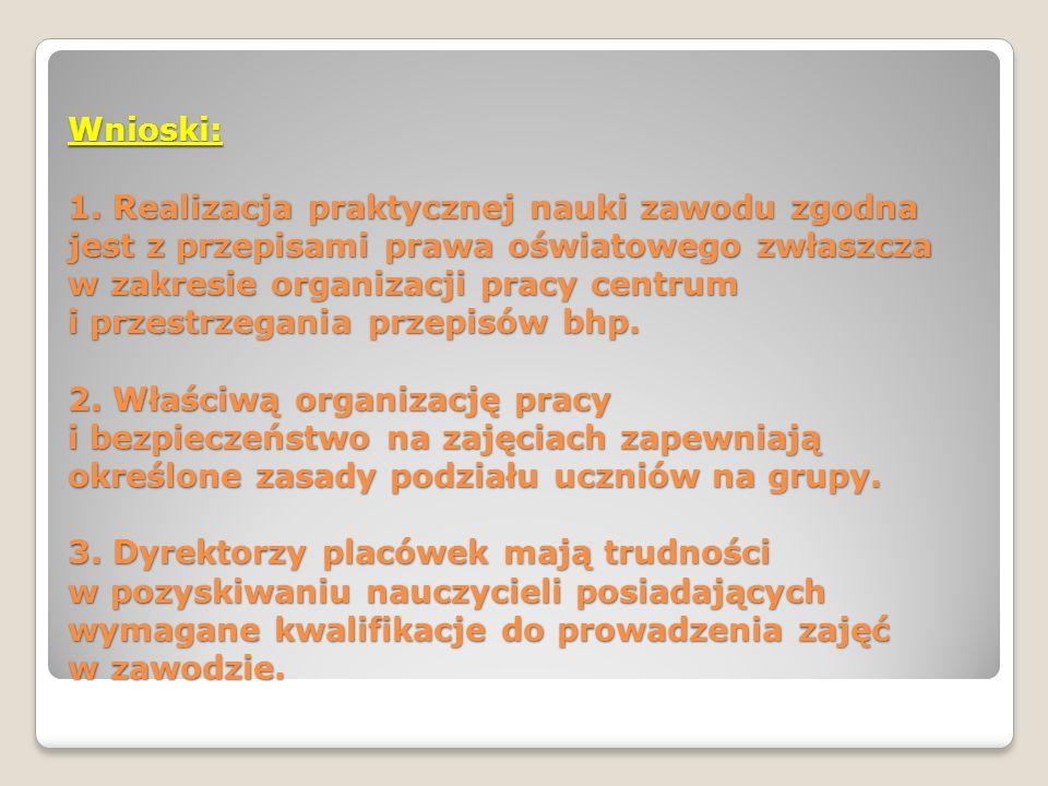 Wnioski: 1. Realizacja praktycznej nauki zawodu zgodna jest z przepisami prawa oświatowego zwłaszcza w zakresie organizacji pracy centrum i przestrzeg