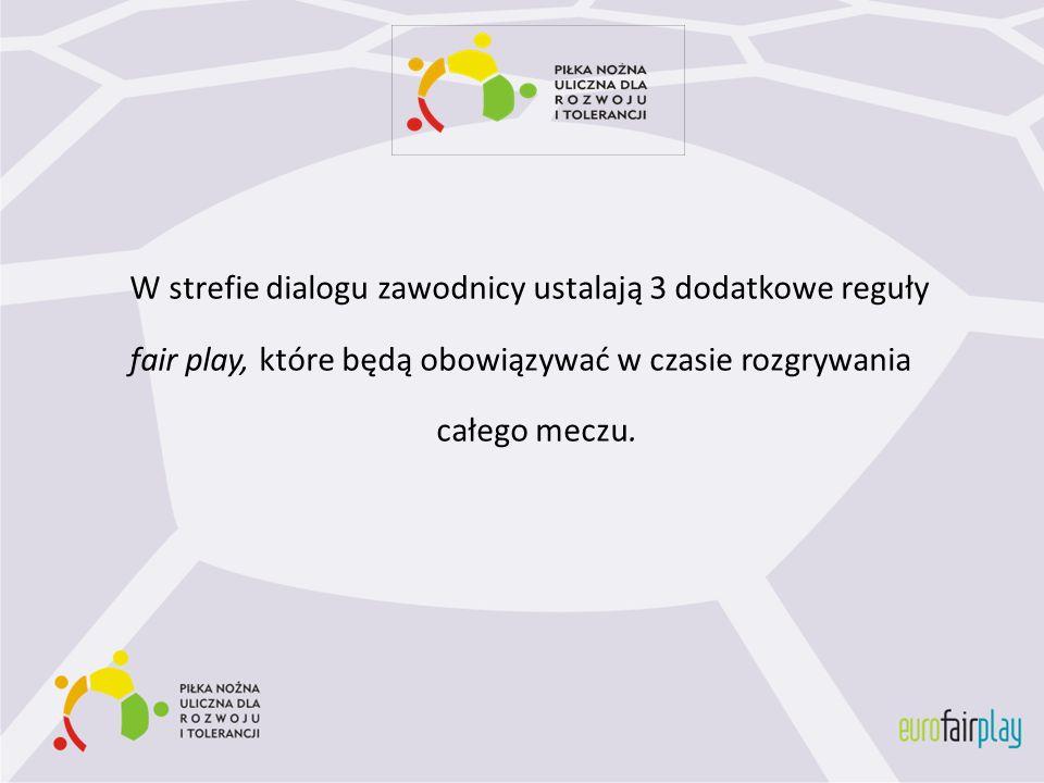 W strefie dialogu zawodnicy ustalają 3 dodatkowe reguły fair play, które będą obowiązywać w czasie rozgrywania całego meczu.