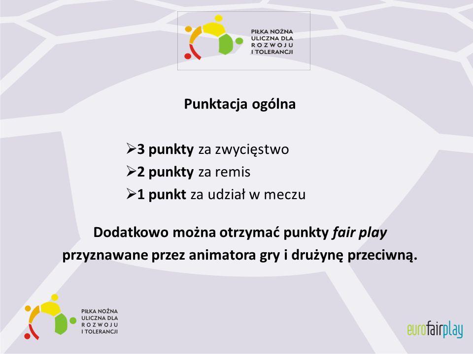 Punktacja ogólna 3 punkty za zwycięstwo 2 punkty za remis 1 punkt za udział w meczu Dodatkowo można otrzymać punkty fair play przyznawane przez animat