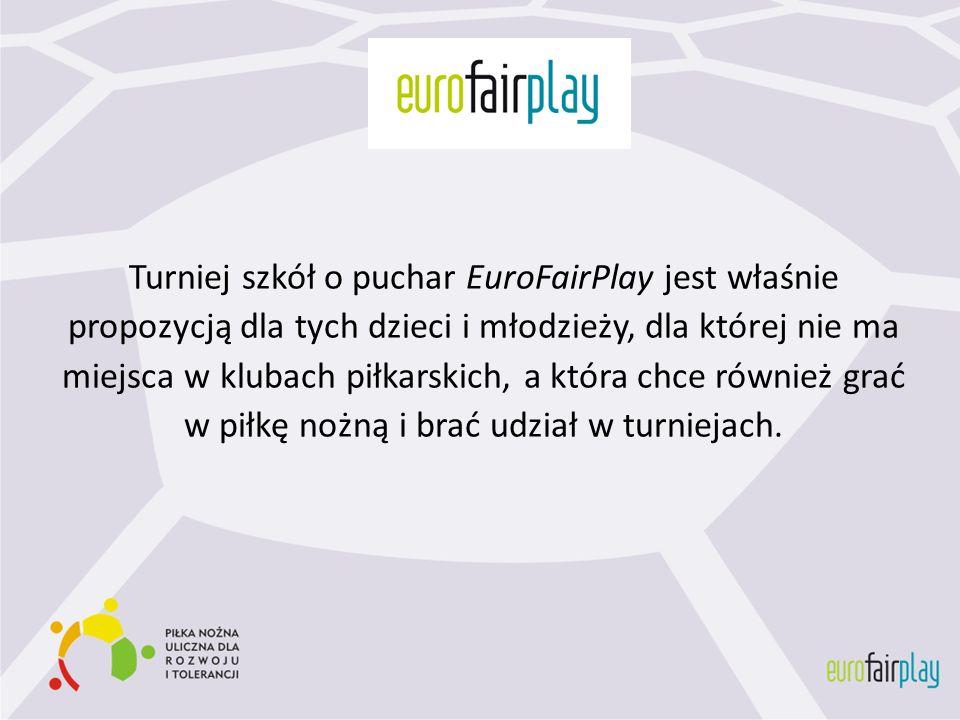 Turniej szkół o puchar EuroFairPlay jest właśnie propozycją dla tych dzieci i młodzieży, dla której nie ma miejsca w klubach piłkarskich, a która chce
