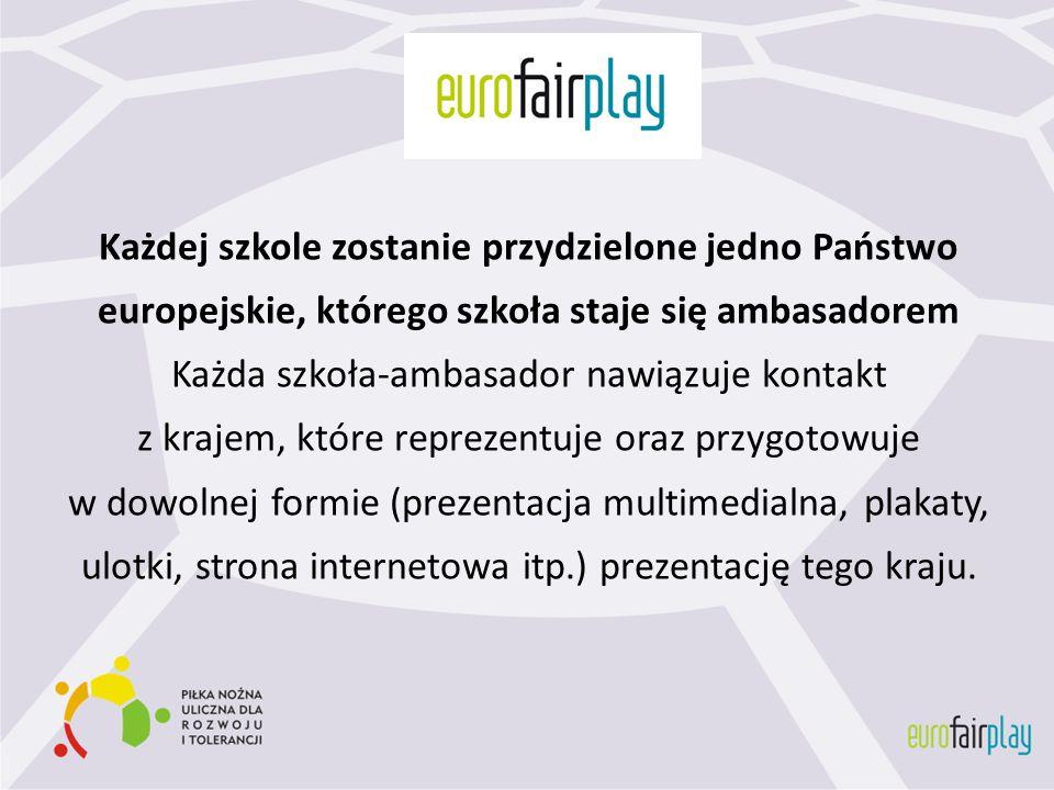 Każdej szkole zostanie przydzielone jedno Państwo europejskie, którego szkoła staje się ambasadorem Każda szkoła-ambasador nawiązuje kontakt z krajem,
