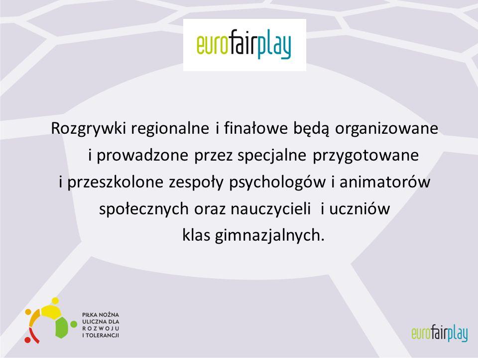 Rozgrywki regionalne i finałowe będą organizowane i prowadzone przez specjalne przygotowane i przeszkolone zespoły psychologów i animatorów społecznyc