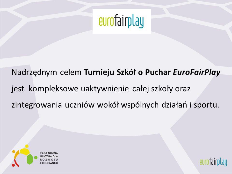 Nadrzędnym celem Turnieju Szkół o Puchar EuroFairPlay jest kompleksowe uaktywnienie całej szkoły oraz zintegrowania uczniów wokół wspólnych działań i