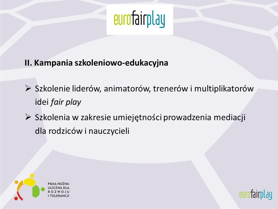 II. Kampania szkoleniowo-edukacyjna Szkolenie liderów, animatorów, trenerów i multiplikatorów idei fair play Szkolenia w zakresie umiejętności prowadz