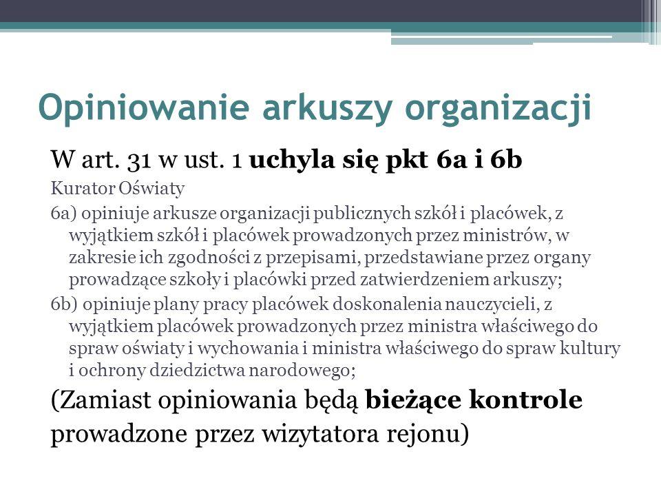 Opiniowanie arkuszy organizacji W art.31 w ust.