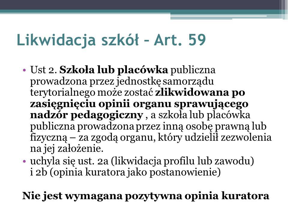 Likwidacja szkół – Art.59 Ust 2.