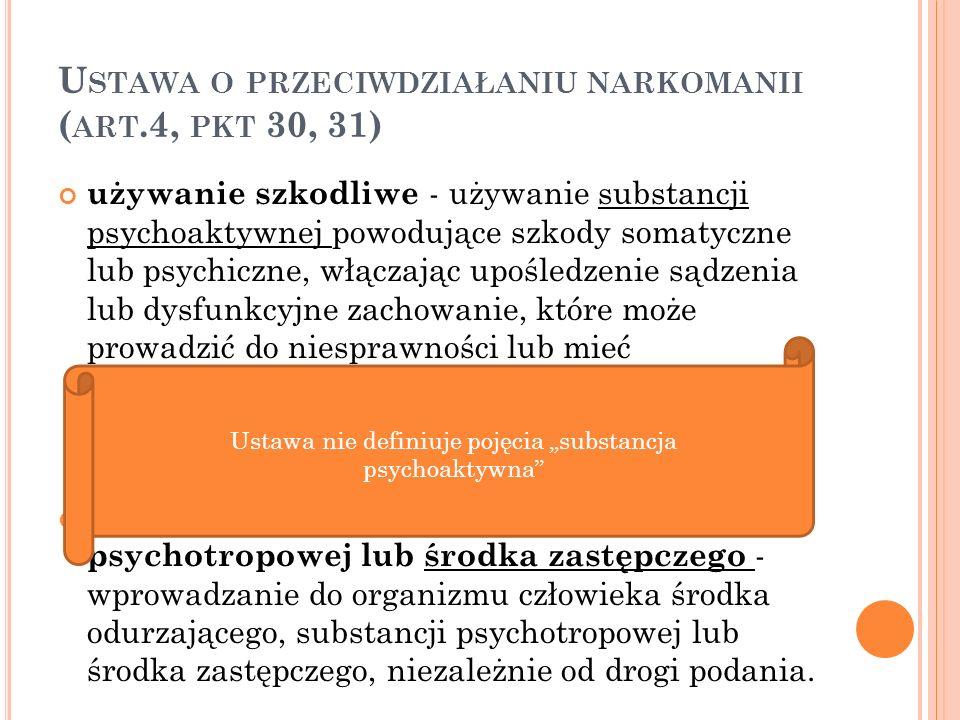 U STAWA O PRZECIWDZIAŁANIU NARKOMANII ( ART.2) Przeciwdziałanie narkomanii realizuje się przez odpowiednie kształtowanie polityki społecznej, gospodarczej, oświatowo-wychowawczej i zdrowotnej, a w szczególności: działalność wychowawczą, edukacyjną, informacyjną i zapobiegawczą; leczenie, rehabilitację i reintegrację osób uzależnionych; ograniczanie szkód zdrowotnych i społecznych; nadzór nad substancjami, których używanie może prowadzić do narkomanii; zwalczanie niedozwolonego obrotu, wytwarzania, przetwarzania, przerobu i posiadania substancji, których używanie może prowadzić do narkomanii; nadzór nad uprawami roślin zawierających substancje, których używanie może prowadzić do narkomanii.