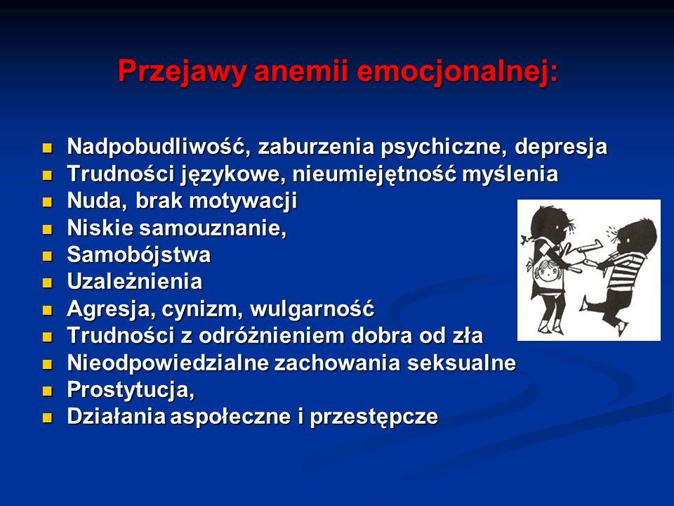 Przejawy anemii emocjonalnej: Nadpobudliwość, zaburzenia psychiczne, depresja Nadpobudliwość, zaburzenia psychiczne, depresja Trudności językowe, nieu