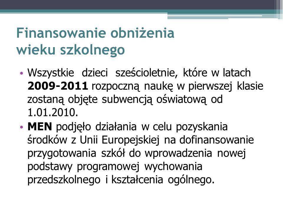Finansowanie obniżenia wieku szkolnego Wszystkie dzieci sześcioletnie, które w latach 2009-2011 rozpoczną naukę w pierwszej klasie zostaną objęte subwencją oświatową od 1.01.2010.