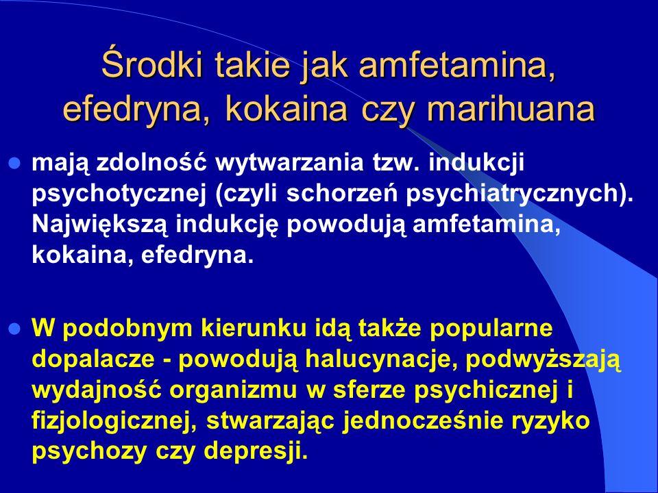 Środki takie jak amfetamina, efedryna, kokaina czy marihuana mają zdolność wytwarzania tzw.