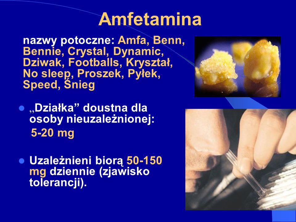 Amfetamina Działka doustna dla osoby nieuzależnionej: 5-20 mg Uzależnieni biorą 50-150 mg dziennie (zjawisko tolerancji).