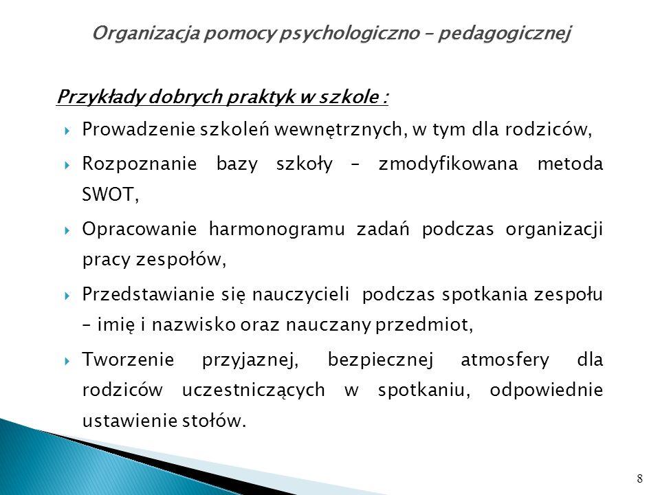 Przykłady dobrych praktyk w szkole : cd.