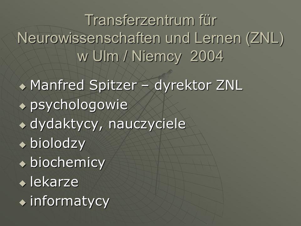 Transferzentrum für Neurowissenschaften und Lernen (ZNL) w Ulm / Niemcy 2004 Manfred Spitzer – dyrektor ZNL Manfred Spitzer – dyrektor ZNL psychologow