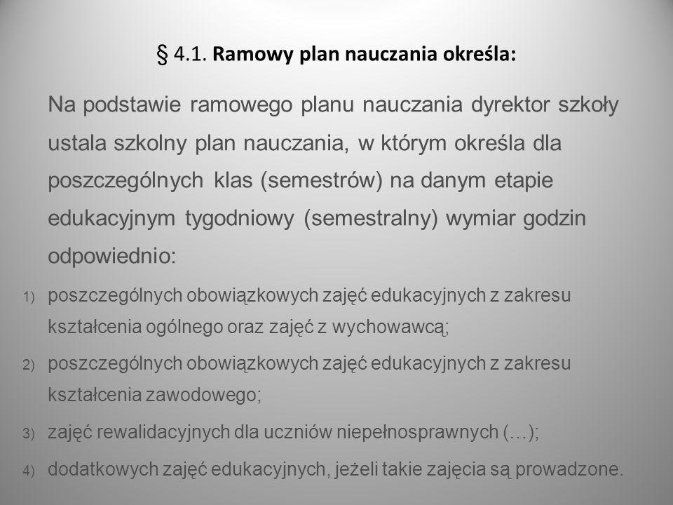 s.10 Na podstawie ramowego planu nauczania dyrektor szkoły ustala szkolny plan nauczania, w którym określa dla poszczególnych klas (semestrów) na dany