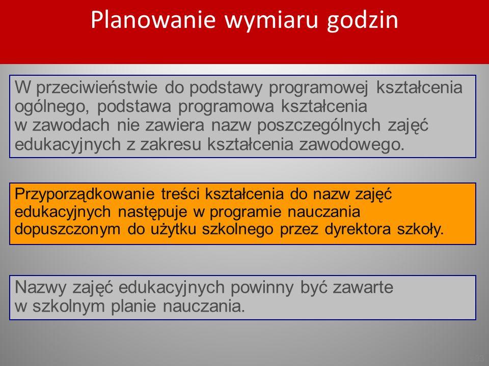 s.33 Przyporządkowanie treści kształcenia do nazw zajęć edukacyjnych następuje w programie nauczania dopuszczonym do użytku szkolnego przez dyrektora