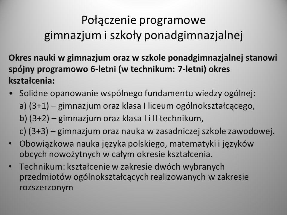 Przedmioty w zakresie podstawowym, z wyjątkiem przedmiotów: język polski, język obcy nowożytny, język mniejszości narodowej, etnicznej lub język regionalny i matematyka, są realizowane w klasach I i II.