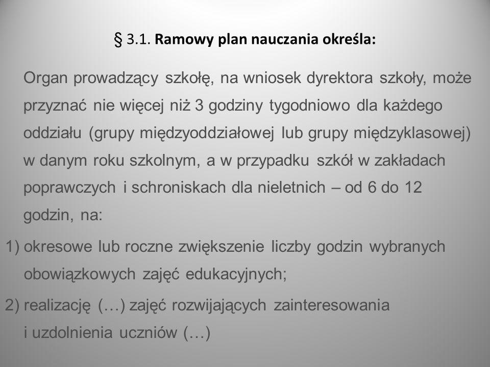 s.9 Organ prowadzący szkołę, na wniosek dyrektora szkoły, może przyznać nie więcej niż 3 godziny tygodniowo dla każdego oddziału (grupy międzyoddziało