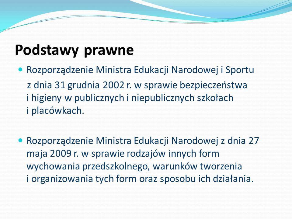 Podstawy prawne Rozporządzenie Ministra Edukacji Narodowej i Sportu z dnia 31 grudnia 2002 r. w sprawie bezpieczeństwa i higieny w publicznych i niepu