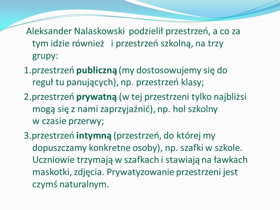 Aleksander Nalaskowski podzielił przestrzeń, a co za tym idzie również i przestrzeń szkolną, na trzy grupy: 1.przestrzeń publiczną (my dostosowujemy się do reguł tu panujących), np.