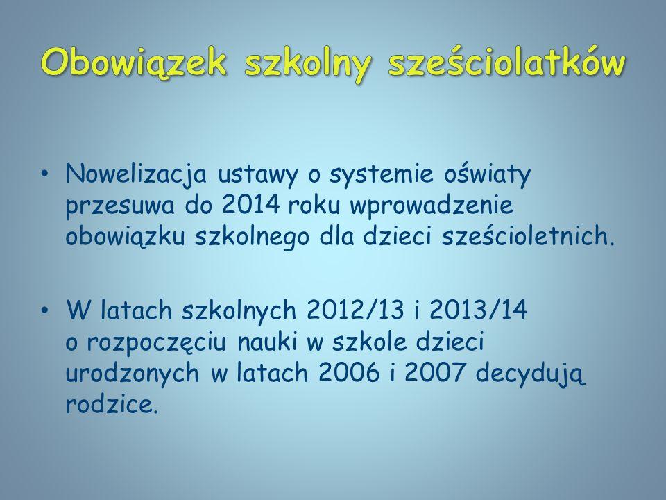 Nowelizacja ustawy o systemie oświaty przesuwa do 2014 roku wprowadzenie obowiązku szkolnego dla dzieci sześcioletnich. W latach szkolnych 2012/13 i 2