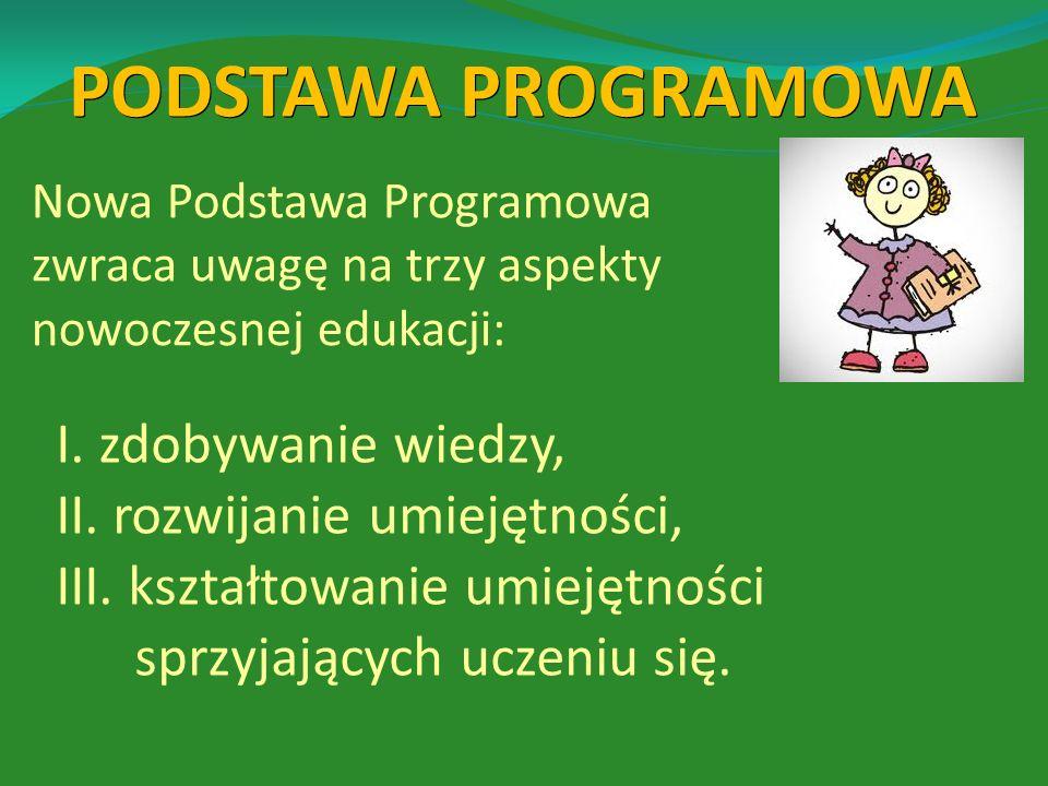 Treści programowe dla klasy I są zbliżone do tych, które dotąd były w ostatnim roku przedszkola lub zerówki.