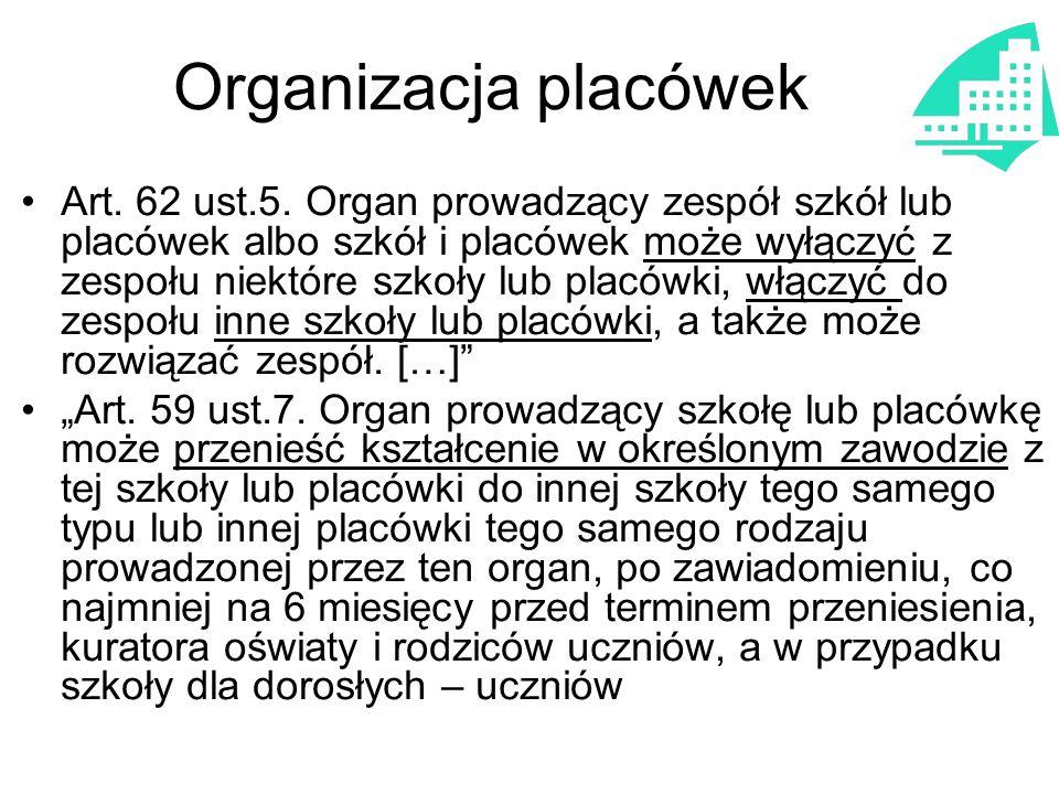 Organizacja placówek Art. 62 ust.5. Organ prowadzący zespół szkół lub placówek albo szkół i placówek może wyłączyć z zespołu niektóre szkoły lub placó
