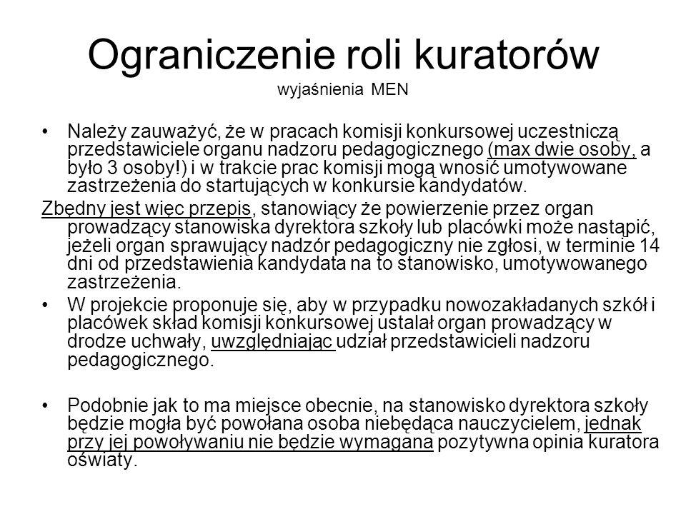 Ograniczenie roli kuratorów wyjaśnienia MEN Należy zauważyć, że w pracach komisji konkursowej uczestniczą przedstawiciele organu nadzoru pedagogiczneg