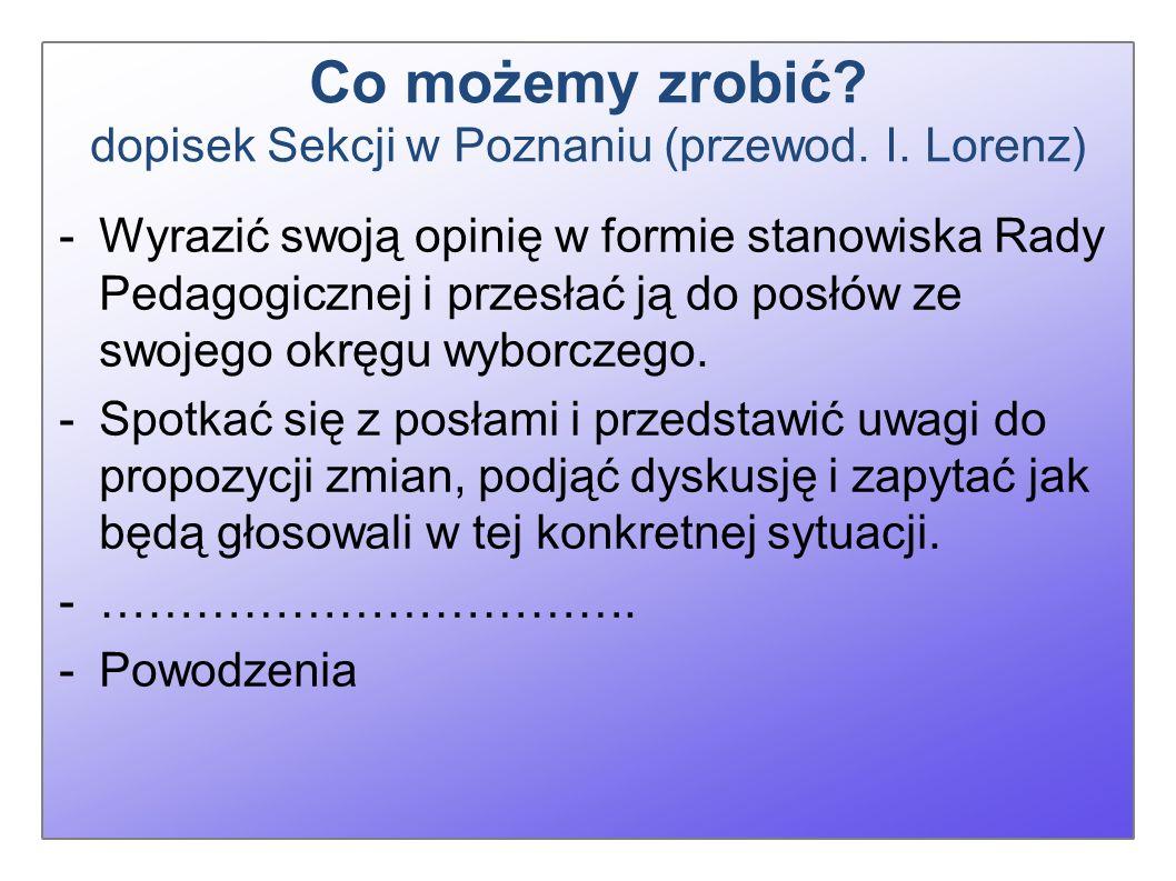 Co możemy zrobić. dopisek Sekcji w Poznaniu (przewod.