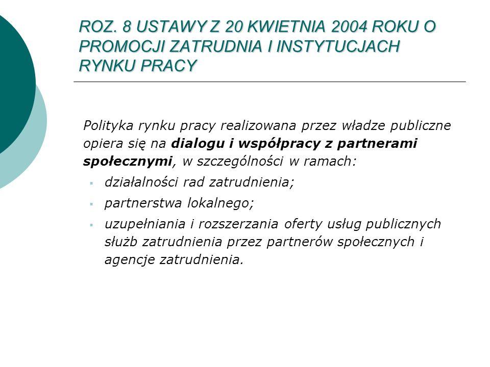 ROZ. 8 USTAWY Z 20 KWIETNIA 2004 ROKU O PROMOCJI ZATRUDNIA I INSTYTUCJACH RYNKU PRACY Polityka rynku pracy realizowana przez władze publiczne opiera s