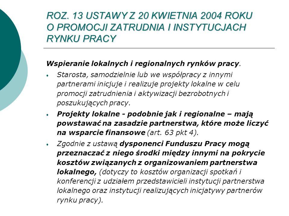 ROZ. 13 USTAWY Z 20 KWIETNIA 2004 ROKU O PROMOCJI ZATRUDNIA I INSTYTUCJACH RYNKU PRACY Wspieranie lokalnych i regionalnych rynków pracy. Starosta, sam