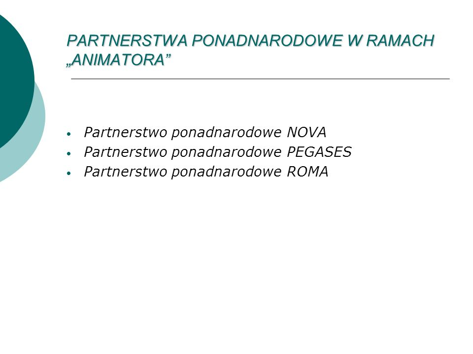 PARTNERSTWA PONADNARODOWE W RAMACH ANIMATORA Partnerstwo ponadnarodowe NOVA Partnerstwo ponadnarodowe PEGASES Partnerstwo ponadnarodowe ROMA
