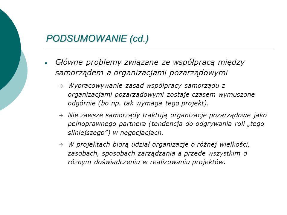 PODSUMOWANIE (cd.) Główne problemy związane ze współpracą między samorządem a organizacjami pozarządowymi Wypracowywanie zasad współpracy samorządu z organizacjami pozarządowymi zostaje czasem wymuszone odgórnie (bo np.