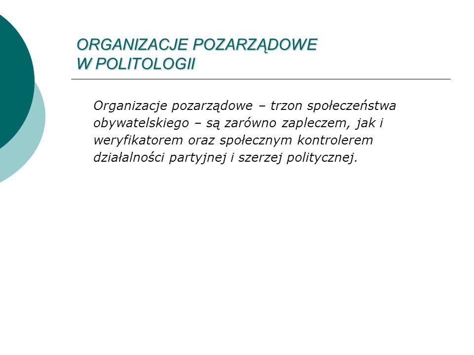 ORGANIZACJE POZARZĄDOWE W POLITOLOGII Organizacje pozarządowe – trzon społeczeństwa obywatelskiego – są zarówno zapleczem, jak i weryfikatorem oraz społecznym kontrolerem działalności partyjnej i szerzej politycznej.